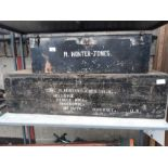 Black painted metal trunk with M Hunter - Jones to