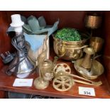 Small quantity of brassware, table lamp & other it