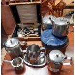 Empty canteen of cutlery box, stainless steel tea