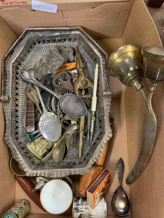 Box of collectables, knives, postcards, brass orna - Image 2 of 6