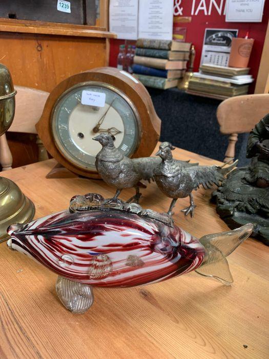 Ceramic elephant, oil lamps, 2 metal birds, Smiths - Image 4 of 4
