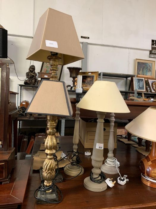 Gilt wood table lamp with stone effect base togeth - Image 2 of 5