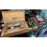 Pine chest with children's tools in together with