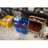 Hostess trolley, vintage dog on wheels together wi