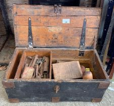 Vintage painted pine toolbox including contents to