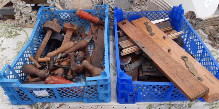2 crates of woodworking tools etc
