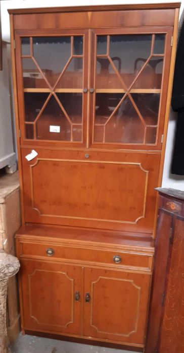 Modern yew wood bureau bookcase