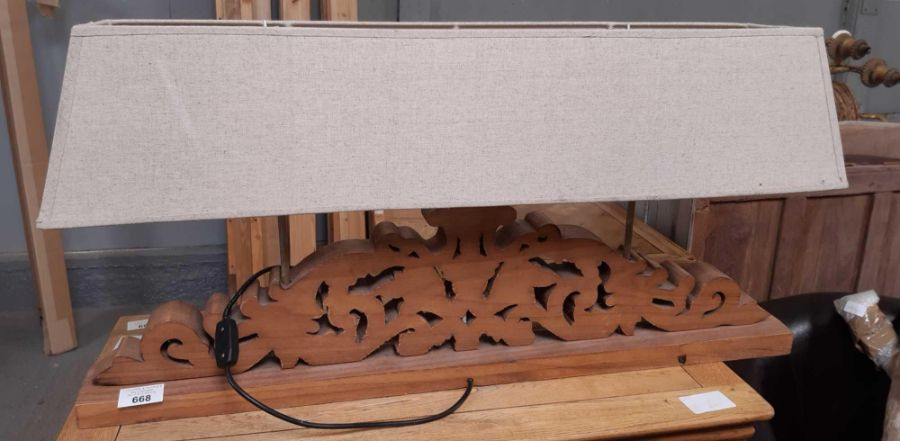 Large wooden table lamp, carved and in rectangular