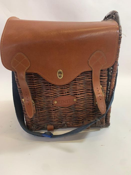 Leather/wicker picnic basket & pair of Art Deco st - Image 3 of 7