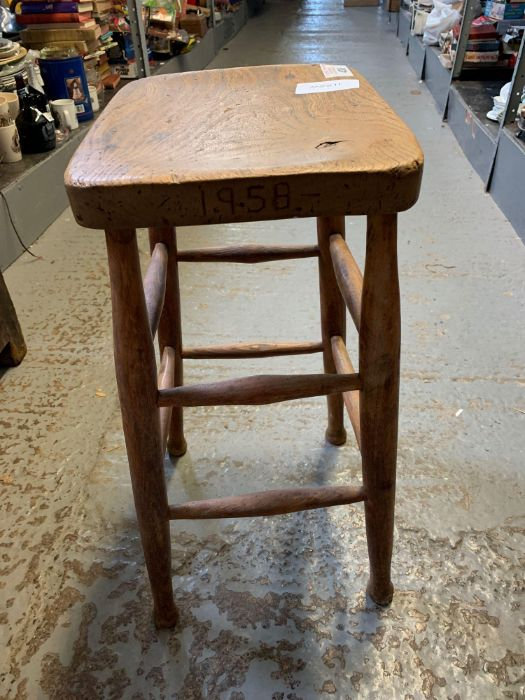 20th Century oak stool with double stretcher suppo - Image 2 of 2
