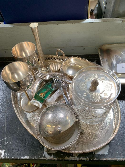 Small quantity of silver plated items, cut glass b - Image 2 of 4
