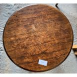 Stained oak round coffee table on 4 cabriole legs