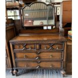 20th Century stained oak dressing chest with 2 sh