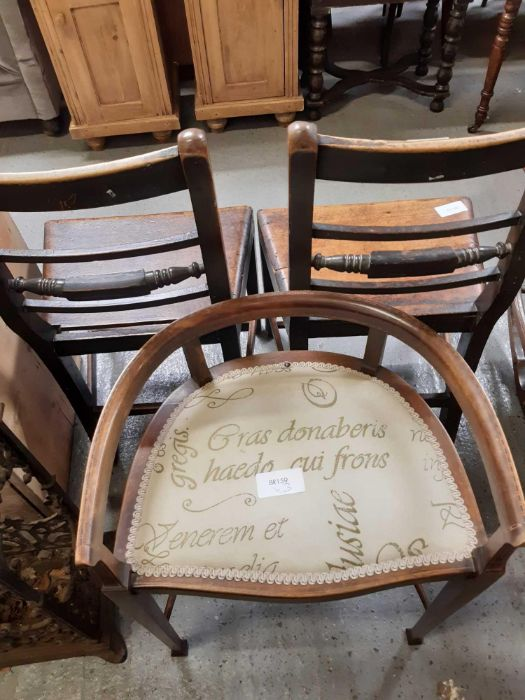 Pair of 19th Century stained oak dining chairs tog - Image 2 of 4