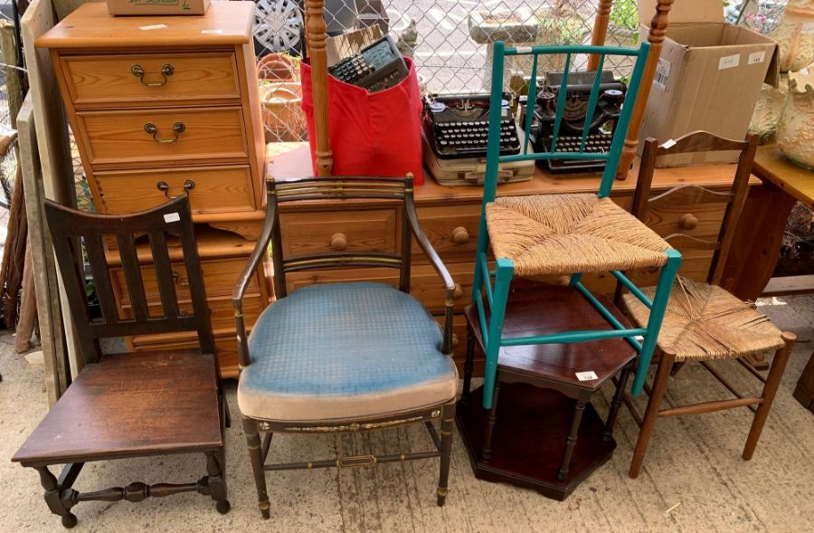 3 chairs, small table & opera chair