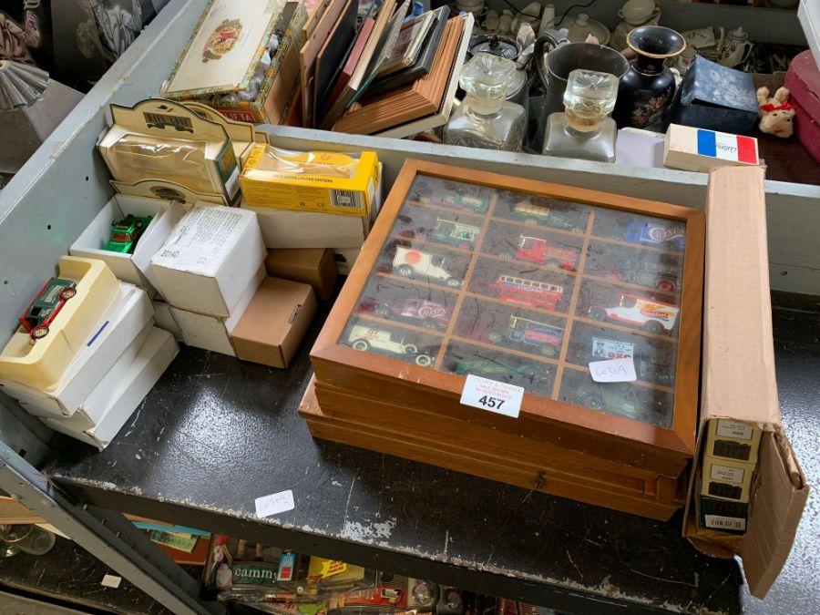 Half shelf of 'Days Gone By' toy cars, vans etc