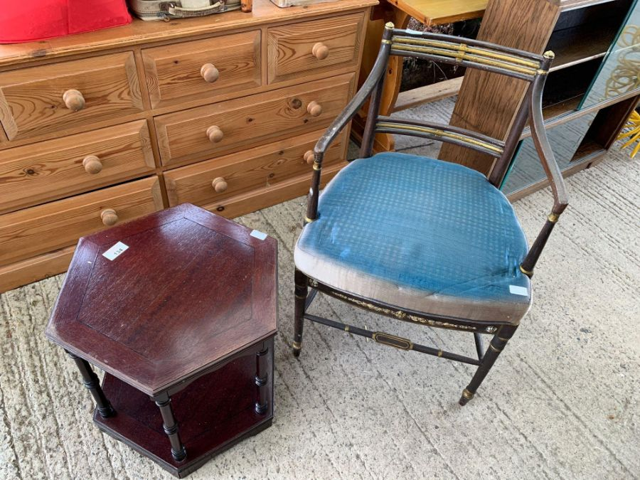 3 chairs, small table & opera chair - Image 3 of 7