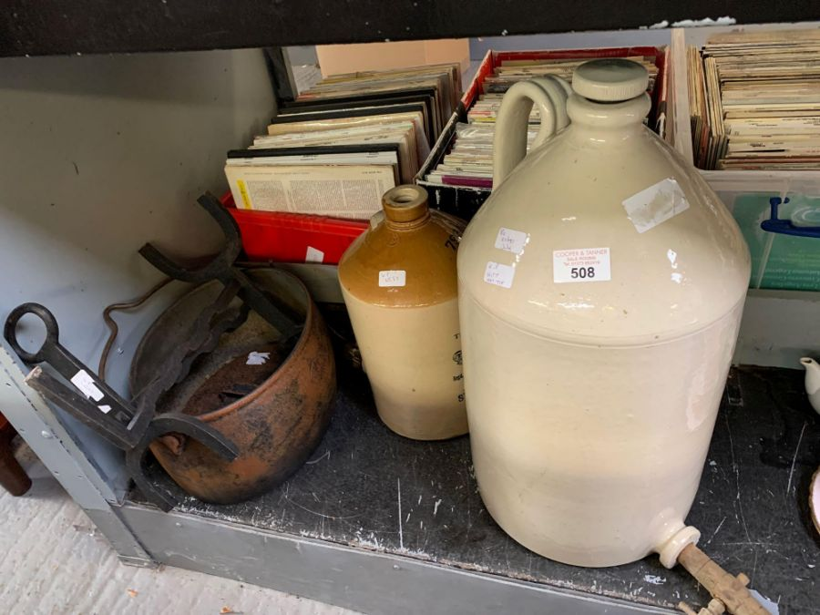 Old stoneware jar, cast iron cooking pot etc