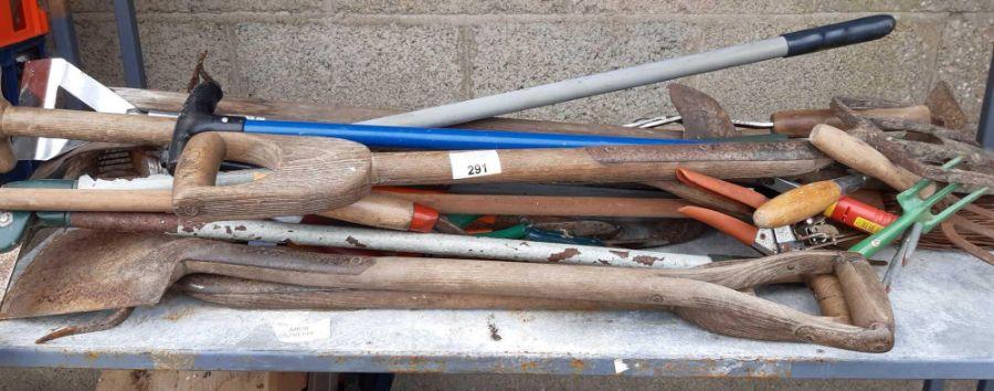 Various garden tools to include spades, shears, ho