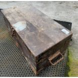 Wooden box with various tools