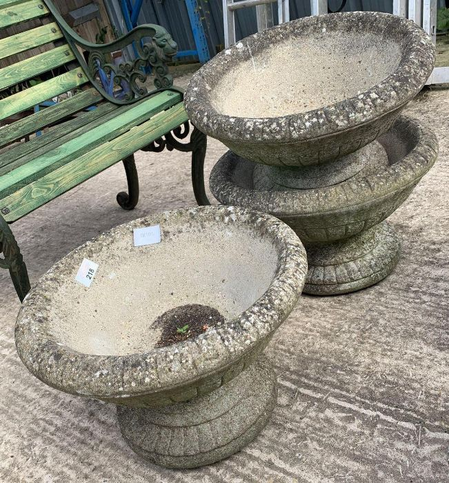 3 matching reconstituted stone planters