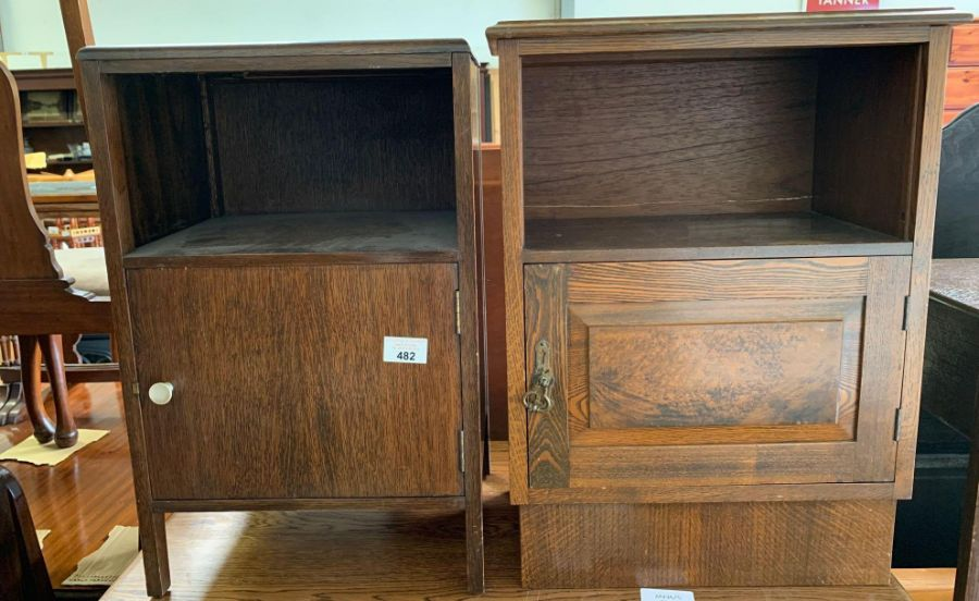Stained oak bedside cabinet together with a mid 20
