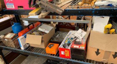 Shelf of various items to include tools, small qua
