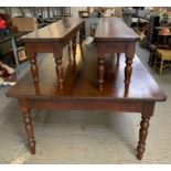 Pair of stained pine benches