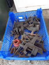 Crate of bench clamps, vices etc