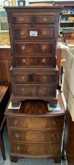 Miniature mahogany chest on chest together with a