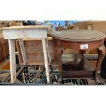 Half shelf wooden tables etc