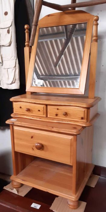 Pine dressing table mirror and pine bedside cabine