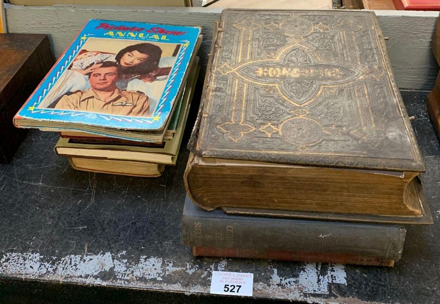 Large late Victorian bible together with other boo