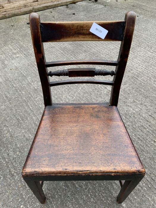 Pair of 19th Century stained oak dining chairs tog - Image 4 of 4