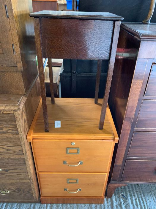 Stained oak bedside cabinet together with a mid 20 - Image 4 of 6
