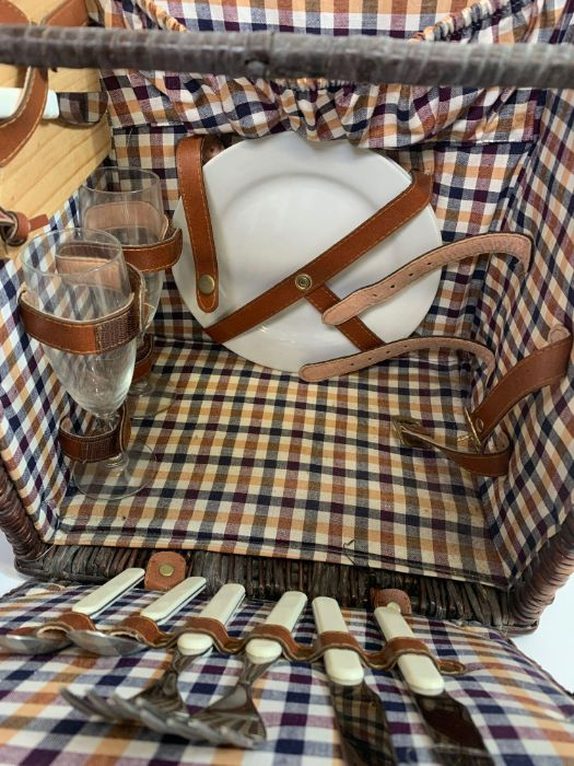 Leather/wicker picnic basket & pair of Art Deco st - Image 2 of 7