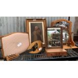 Small veneered dressing table mirror together with