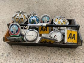 Vintage AA car badges together with RAC car badge