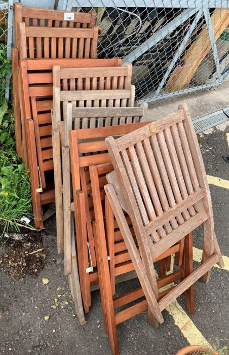 10 various wooden garden chairs together with 2 sm