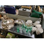 Small quantity of silver plated items, cut glass b