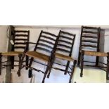 3 rush seated ladderback chairs & a matching carve