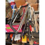 Various saws, vices, clamps & other items