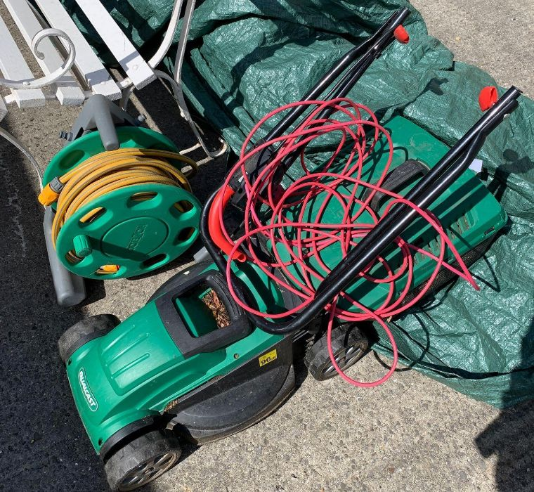 Qualcast electric mower & a hosepipe on reel
