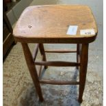 20th Century oak stool with double stretcher suppo