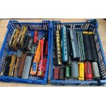 2 trays of toy train items some Hornby