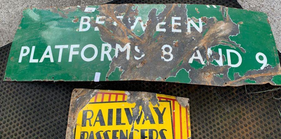 Platform 8 & 9 enamel sign and Railway sign - Image 3 of 4