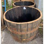 Pair of wooden half barrells