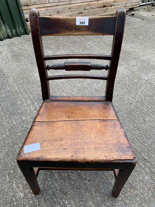 Pair of 19th Century stained oak dining chairs tog - Image 3 of 4