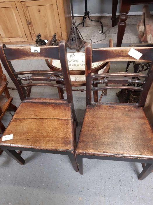 Pair of 19th Century stained oak dining chairs tog