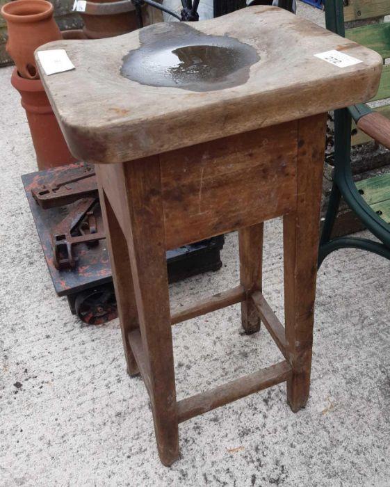 20th Century mahogany stool with shaped seat - Image 2 of 2